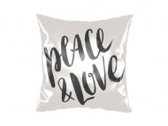 Polštářek, bavlna, Peace&Love, 25x25 cm