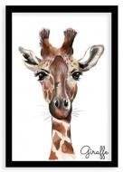 Plakát v rámu, Giraffe - černý rámeček, 20x30 cm