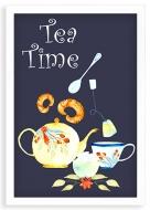 Plakát v rámu, Tea time - bílý rámeček, 20x30 cm