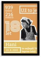 Plakát v rámu, Plakát k 18. narozeninám, 20x30 cm
