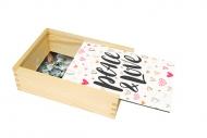 Dřevěná krabička, Peace & Love, 12x17 cm