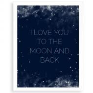 Plakát v rámu, Moon and back, 30x40 cm