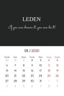 Kalendář, Typografický, 30x40 cm