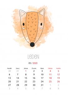 Kalendář, Dětský se zvířátky, 20x30 cm