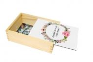 Dřevěná krabička, Květiny, 12x17 cm