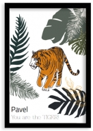 Plakát v rámu, Tygr - černý rámeček, 20x30 cm