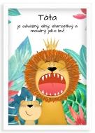 Plakát v rámu, Táta jako lev - bílý rámeček , 20x30 cm