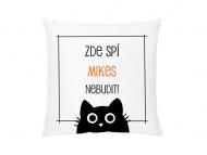 Polštářek, bavlna, Nebudit - černá kočka , 38x38 cm