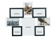Fotorámeček Pro 8 fotografií černo-bílý, 42,5x55,5 cm
