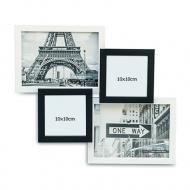 Fotorámeček  Pro 4 fotografie černo-bílý, 32x37 cm