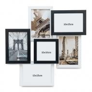 Fotorámeček Pro 6 fotografií černo-bílý, 40x40 cm